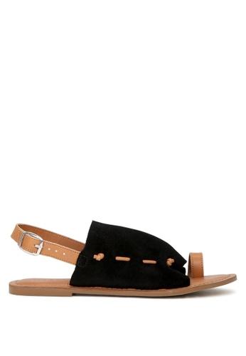 RAG&CO black Fran Back Strap Flat Sandal 2F76ESH5D0BD8DGS_1