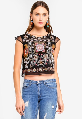 Brave Soul black Mesh Embroidery Top FD841AA79DEF13GS_1