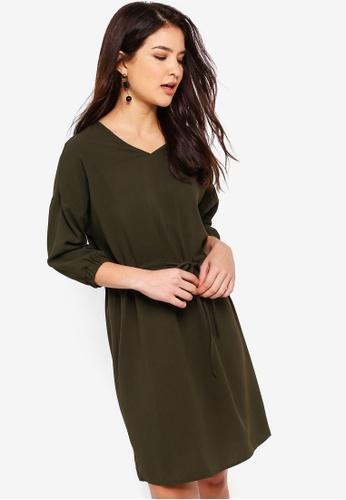 ZALORA green Pull String Dress 01F67AA01F94AEGS_1