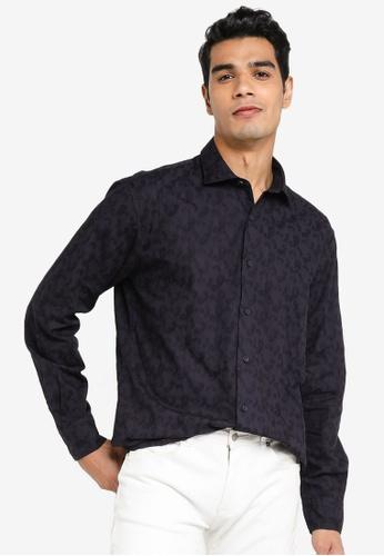 Sacoor Brothers navy Slim fit 100% cotton jaquard shirt C118CAA2F6CCF3GS_1