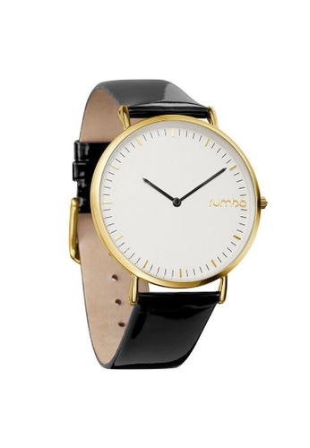 RumbaTime black and gold Rumbatime Soho Patent Leather Watch Lights Out RU023AC2VIRMHK_1