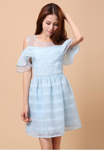 Les Premieres Blue Mesh Top Off Shoulder Dress Le263aa41vychk 1