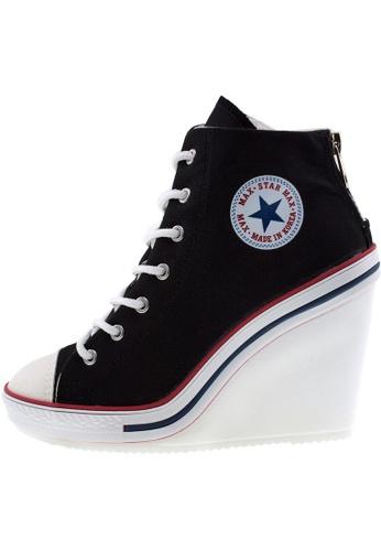Maxstar 黑色 新款韩国鞋777-BZ時尚帆布布混合女黑色 US Women Size MA345SH37GRUTW_1