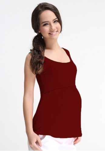 Bove by Spring Maternity red Knitted Sleeveless Abbey Empire Top Maroon 6CC84AA74729A0GS_1