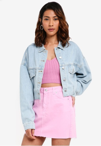 TOPSHOP blue Raw Hem Cropped Denim Jacket B622EAA2177DE3GS_1