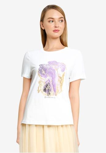 Vero Moda white Anais Short Sleeve Print T-Shirt 84161AAA921E95GS_1