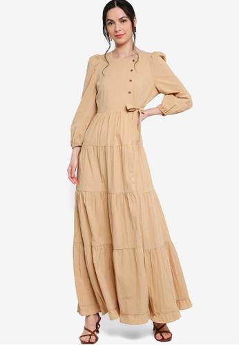 Zalia beige Puff Sleeves Tiered Dress 6C6DFAACA492F9GS_1