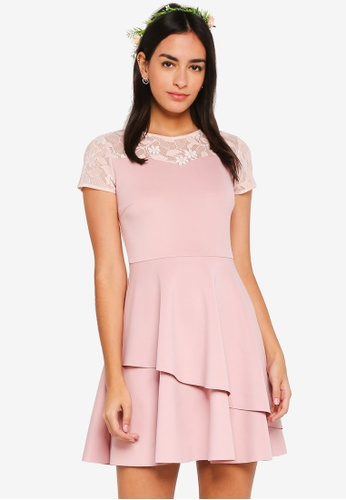 ZALORA pink Bridesmaid Double Layered Fit & Flare Dress 92EC4AA07435FDGS_1