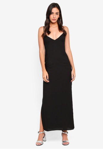 MISSGUIDED black Georgette Plunge Strappy Maxi Dress 42B3FAA6A7BBBFGS_1