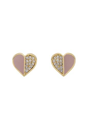 Wanderlust + Co gold Unfold Heart Mauve Gold Earrings 643BEACFADDACDGS_1