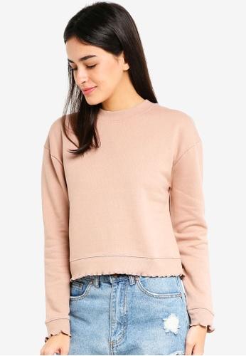 Miss Selfridge pink Lettuce Hem Sweatshirt 24686AA8B1639EGS_1