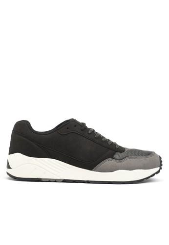 撞色超細纖維復古跑鞋, 女esprit 工作鞋, 運動鞋