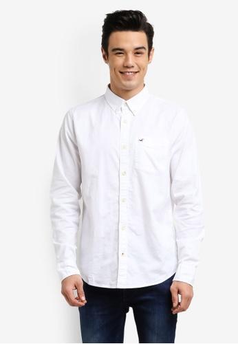 Hollister white Long Sleeve Oxford Shirt HO422AA0RCQNMY_1