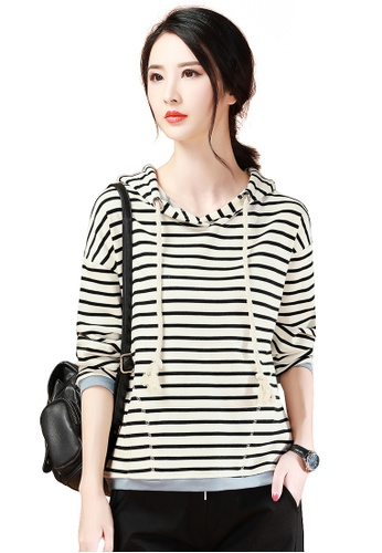 A-IN GIRLS black and beige Fashion Striped Hooded Sweater D73A6AAA883E68GS_1