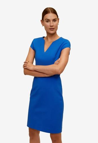 Mango blue Pencil Dress 7A246AA23ACF48GS_1