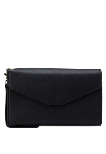Bagstationz black Bagstationz Faux Textured Leather Multipurpose Travel Large Clutch BA607AC27IROMY_1