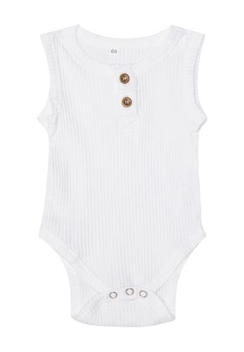 RAISING LITTLE white Cely Ribbed Sleeveless Onesie 93068KA5545677GS_1