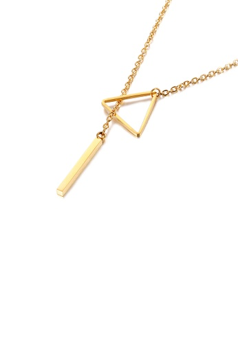 Glamorousky silver Fashion Personality Plated Gold Geometric Triangle 316L Stainless Steel Necklace 4C99EACE151E02GS_1