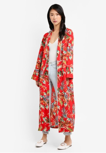 ZALORA red Long Printed Kimono 85364AA60D1651GS_1