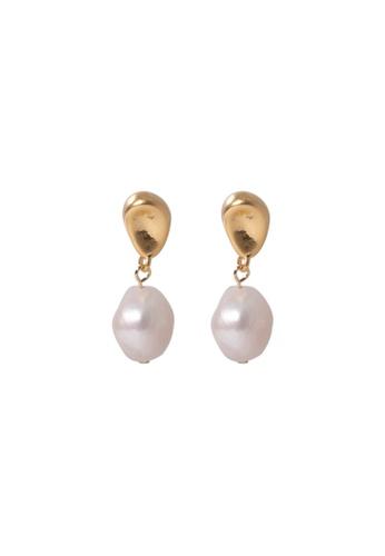 SKEDA gold Freda Pearl Drop Earrings 84C8AAC40CFB74GS_1