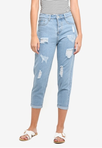 ZALORA blue Denim Distressed Mom Fit Jeans 57439AAC49B5E3GS_1
