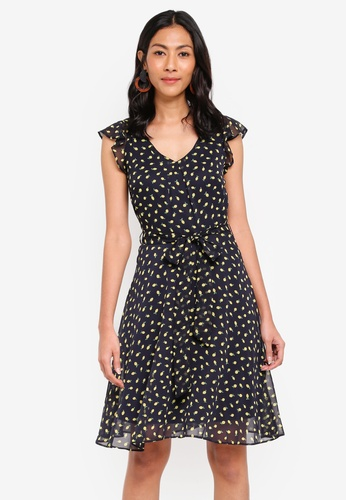 Dorothy Perkins navy Billie & Blossoms Navy Print V Neck Dress 27F7BAAE9A50CFGS_1