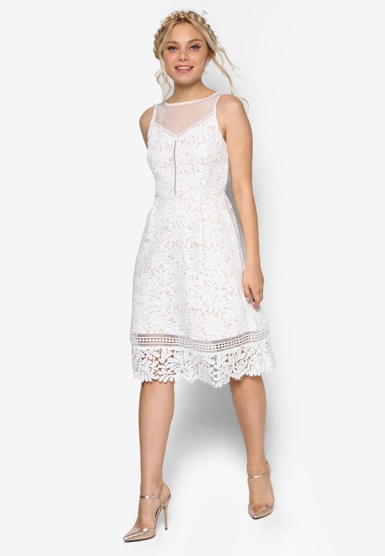 Bridesmaid Mesh Yoke Midi Lace Dress