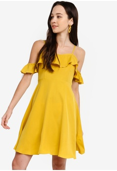 4b435e9900 Something Borrowed yellow Ruffled Cold Shoulder Fit And Flare Dress  A84BFAA08B1A36GS 1