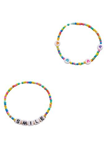 MANGO KIDS pink 2-Pack Message Bracelets FAF79KC53EA43AGS_1
