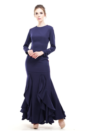 Rina Nichie Couture navy Zerra Classic Couture Kurung in Navy Blue D4C11AA93DCF0BGS_1