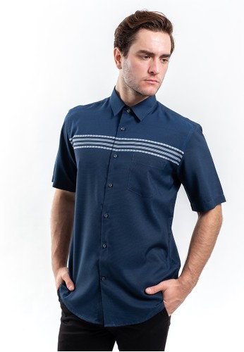 MANLY blue Manly Kemeja Regular Fit Striped Monegal Blue ADD4EAAC4119E8GS_1