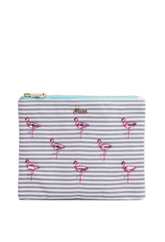 Flamingo Marine Border Cosmetic Pouch