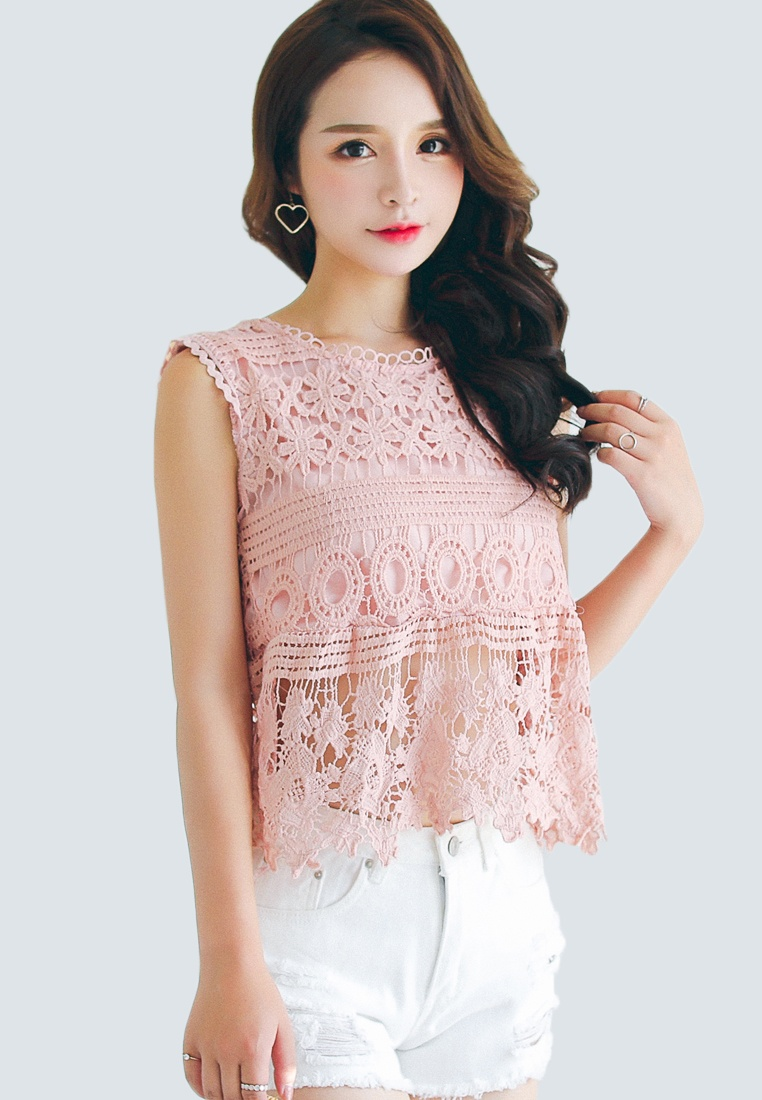 Pink blouse Sleeveless lace in Shopsfashion Pink BZqS1Ac