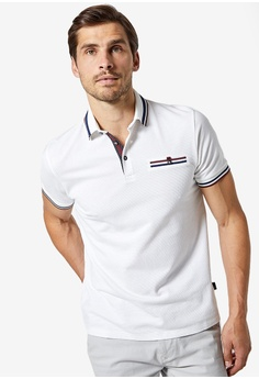 703346d4f Burton Menswear London white White Tip Grid Popcorn Polo E4D42AAF257452GS_1