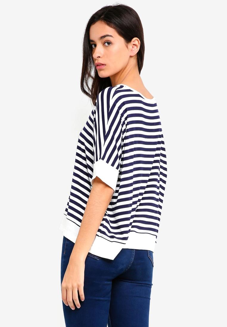 pack Black Stripe Stripe Contrast and 2 Top Basic White BASICS Navy White Sleeves Hem ZALORA EPqCZ6w