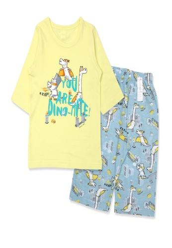 Organic mom yellow Organic Cotton Antony Dino-Mite 3/4 Sleeves Pjs 81462KA02A7039GS_1