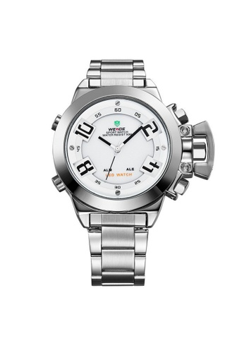 Weide white and silver Weide WH1008 Dual Time LED Sport Digital Analog Watch (Silver White) WE079AC23RIQMY_1