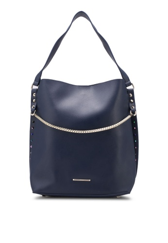 Nose navy Colorful Spike With Gold Chain Shoulder Bag NO327AC0SAFHMY_1
