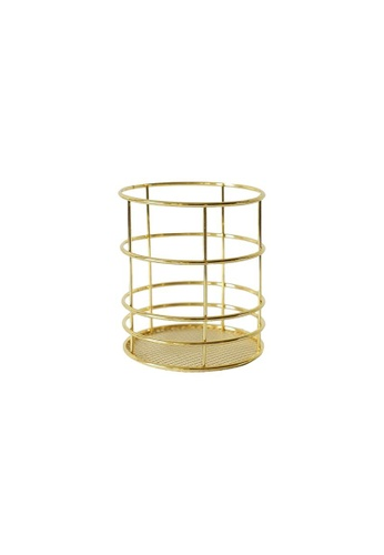DILAS HOME Round Metallic Pencil Holder (Gold) F08D3HL72763D6GS_1