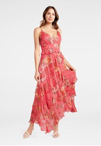 Ever New pink Delilah Ruffle Midi Dress 7FF28AAFBC6C74GS_1