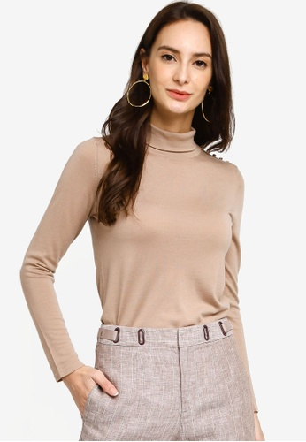 Hopeshow brown Turtle Neck Knitted Long Sleeve Blouse 47FD1AA1908498GS_1
