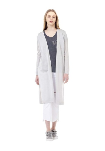 VOV(Voice of Voices) grey Grey Embroidered Long Cardigans C2805AAA84DD6DGS_1