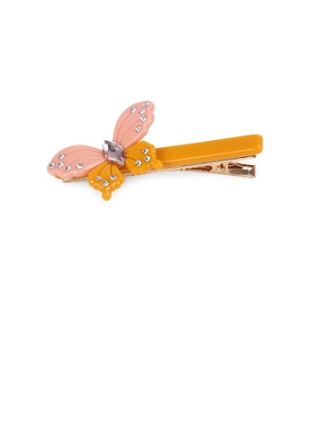 Glamorousky white Fashion and Elegant Butterfly Orange Hair Clip with Cubic Zirconia 0D95FACA590B73GS_1