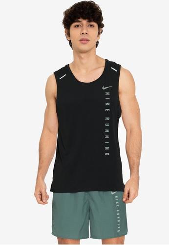 Nike black and grey Men's Miler Run Division Hybrid Tank Top 06F81AA096414CGS_1