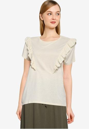 JACQUELINE DE YONG beige Karen Frosty Frill Top 40526AAC98A976GS_1