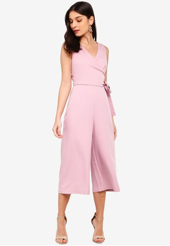 ZALORA pink Satin Self Tie Jumpsuit 844B4AACEB8468GS_1