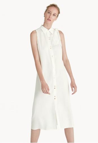 Pomelo white Premium Tencel Bow Shoulder Dress - White ED97EAABFBCDF3GS_1