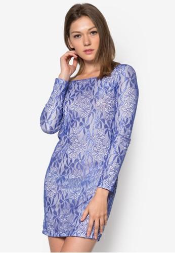 蕾絲長袖貼身連身裙, 服飾, 服zalora 包包評價飾