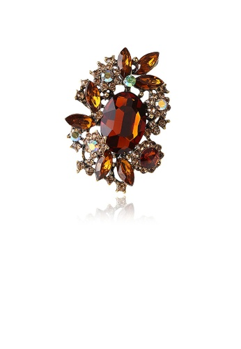 Glamorousky brown Fashion and Elegant Plated Gold Geometric Brown Cubic Zirconia Brooch 295C3AC6020404GS_1
