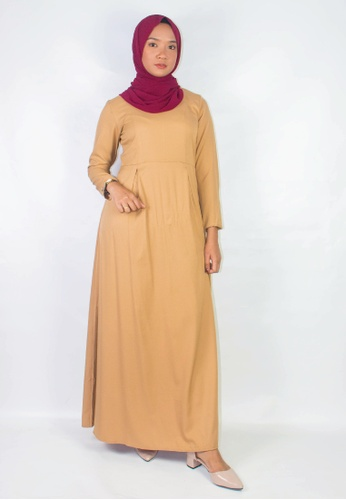 Zaryluq brown and beige Pleated Dress in Spicy Chai 796CEAA6ADF689GS_1